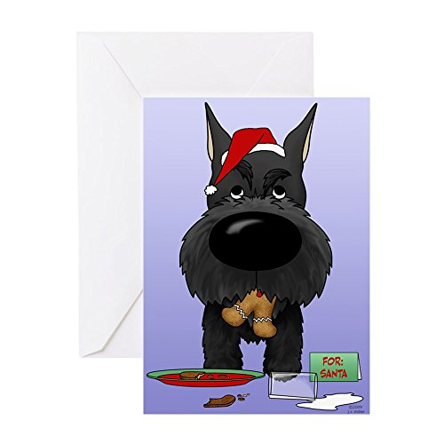 CafePress Schnauzer Santa's Cookies Greeting Cards (Pk Of 20 Greeting Card (20-pack), Note Card with Blank Inside, Birthday Card Glossy