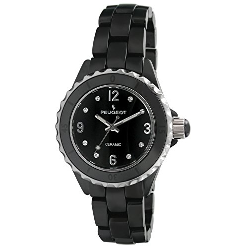 Peugeot Women's Quartz Watch with Ceramic Strap, Black, 15.25 (Model: 7100BK)