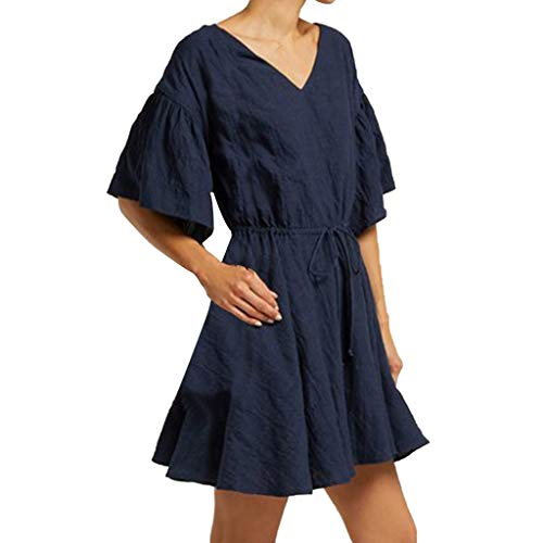 KANGMOON Women Solid Short Sleeve V-Neck Maxi Pockets Linen Loose Baggy Kaftan Dress Blue