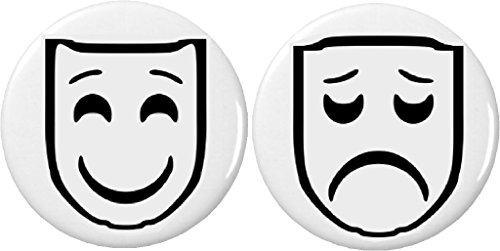 Set 2 Theatre Comedy & Tragedy Masks 2.25