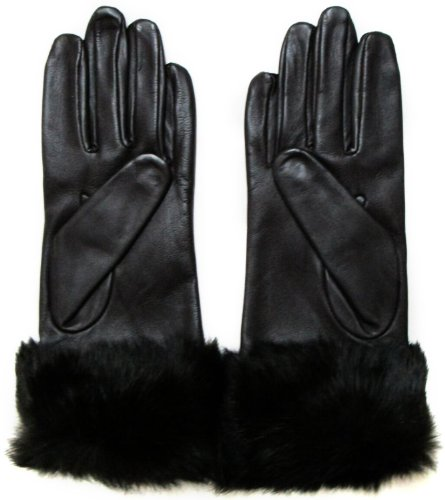 Fownes Women's Brown Lambskin Leather Gloves w/Brown Rabbit Fur Trim 6 1/2/S