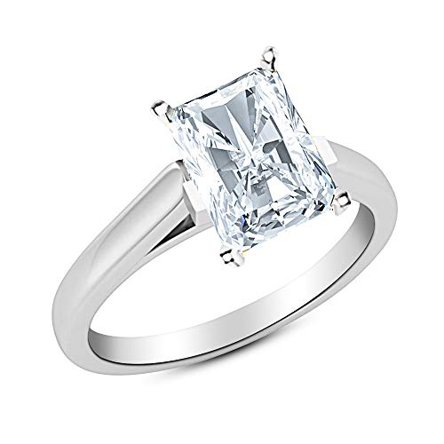 3 Ct Radiant Cut Cathedral Solitaire Diamond Engagement Ring 14K White Gold (J Color SI1 Clarity) (Solitaire Si1 Radiant Diamond)