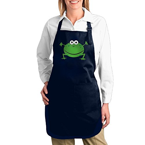 Dogquxio Cartoon Fat Frog Kitchen Helper Professional Bib Apron With 2 Pockets For Women Men Adults Navy