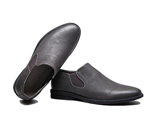 Hombres Mocasines Oxfords Cuero Zapatos Casual Comodidad Ponerse Boda Formal Negocio Plano Negro gris Conducción Trabajo Gray