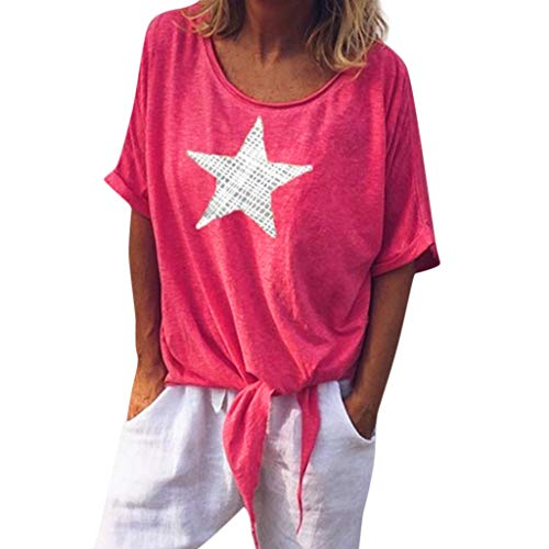 Toponly Short Sleeve T Shirt For Women Loose Tie Front Knotted Henley Tops Shirts V Neck Star Printed Tee ()