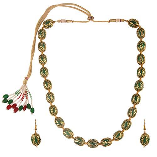 Efulgenz Indian Bollywood 14 K Gold Plated Boho Antique Vintage Tribal Beaded Strand Statement Neckalce Earrings Jewelry Set for Women Girls