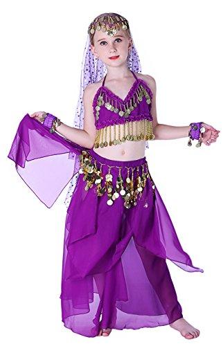 Seawhisper Kids Genie Costume for Girls Halloween Indian Violet 10 (Kids Workout Costume)