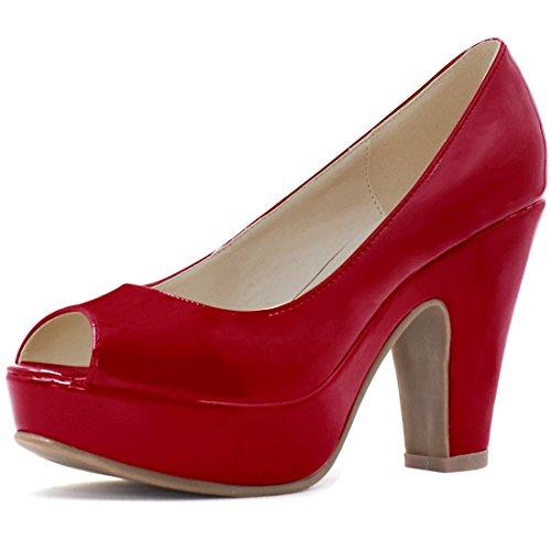 Allegra K Womens Peep Toe Platform Patent Pumps Dark Red