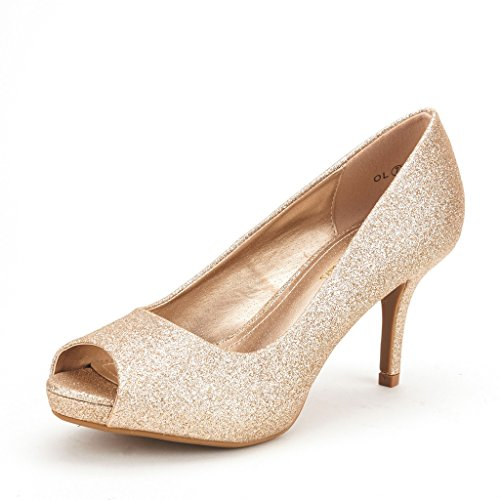 DREAM PAIRS OL Women's Elegant Open Toe Classic Low Heel Wedding Party Platform Pumps Shoes GOLD GLITTER SIZE 5