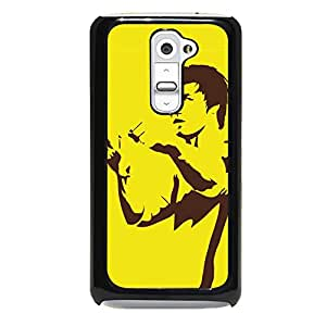 Artistic Design Bruce Lee Phone Case Cover for LG G2 Bruce Lee Yellow Background