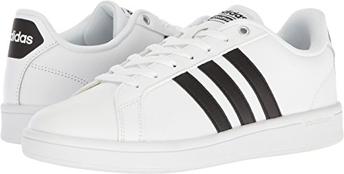 adidas Men's Cloudfoam Advantage Sneakers, White/Black/White, (11 M US)