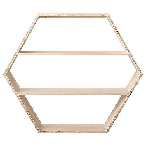 Pequeño Madera Natural hexagonal Shelf