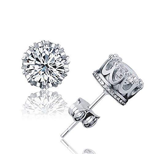 Orris Sterling Silver Plated Diamond Crown Ear Stud Earrings for Women Girls