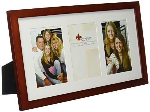 Lawrence Frames Walnut Wood Triple 4 by 6 Matted Picture Frame