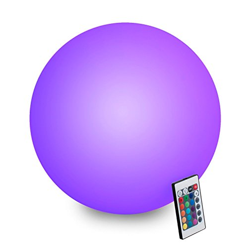INNOKA 15.75-inch Waterproof Rechargeable Cordless Floating Ball 16 Color LED Mood Lamp Remote Control [4 Lighting Effects][5 Dimming Levels] w/Hanging Hook, Grass Stake for Home, Garden, Pool & Party