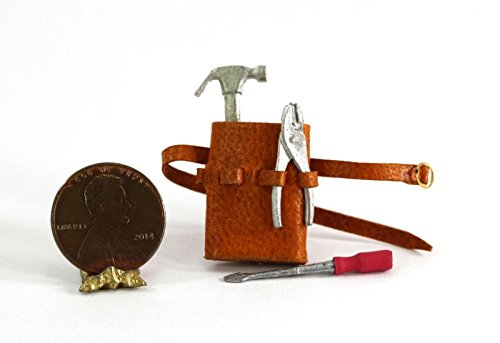 (Dollhouse Miniature 1:12 Scale Tan Leather Tool Belt with Tools by Prestige Leather)