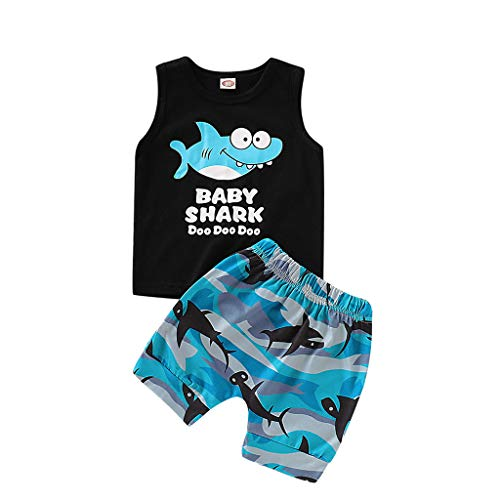 Vintage Tank Bib (Baby Boy Girl Outfits Set Shark Print Summer Cotton Sleeveless Vest Tops and Short Pants Summer Clothes (18-24 Months, Blue))