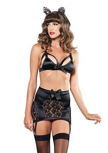 Leg Avenue Women's Vixen Satin Cage Bra High Waits Garter Skirt and G-String, Black, Large Avenue 2 Piece Skirt