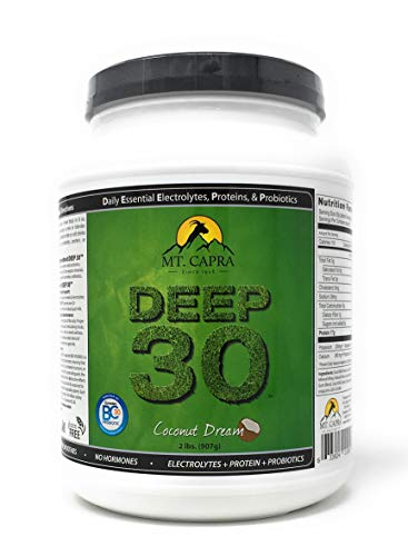 - MT. CAPRA SINCE 1928 DEEP-30 | Meal Replacement Shake, Goat Protein Powder With Grass Fed Whey Protein and Casein Protein, Minerals and BC-30 Probiotics, Coconut Dream Flavor - 2 Lbs