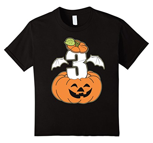 Kids Pumpkin Kid 3 Years Old T-shirt Halloween 3rd Birthday 4 Black