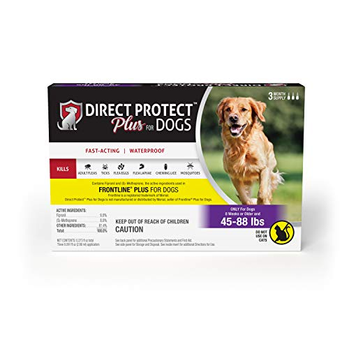 Direct Protect Plus Flea & Tick Topical Treatment for Dogs, Waterproof and Fast Acting, 3 Month Supply,  45-88 pounds ()