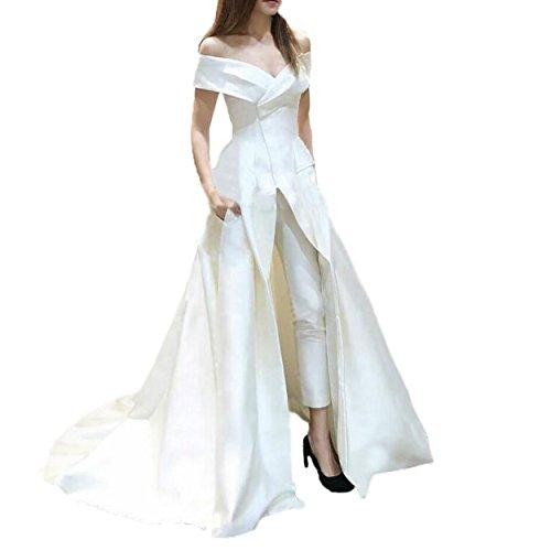 Fancy-Bridal Women's Sexy V Neck Sleeveless Satin Jumpsuits Formal Evening Dresses (26Plus, Ivory)