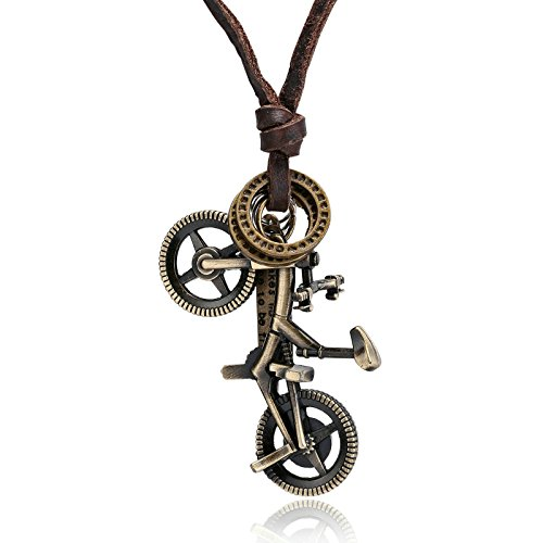 Adisaer Antique Leather Necklace Gold Bicycle Pendant Mens Stainless Steel Necklace for Women