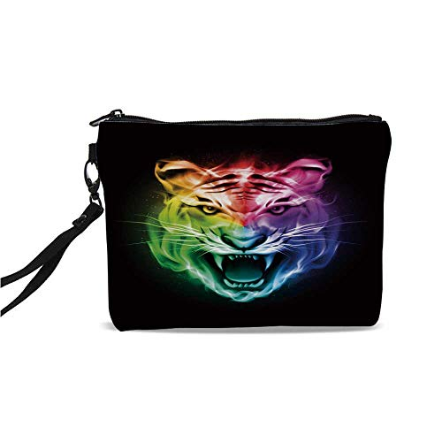 Tiger Simple Cosmetic Bag,Multicolored Abstract Rendition Large Feline Blazing Spectrum of Fire Rainbow Color for Women,9
