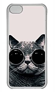 LJF phone case Personalized Custom Cat With Glasses for iphone 5/5s PC Transparent Case
