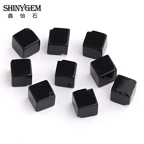 Calvas Natural Black Agates Stone Beads 20 Piece 8mm Suqare Shape Cube Onyx Beads for Jewelry Making Bracelet Necklace - (Color: Semi-Precious Stone, Item Diameter: 8mm)