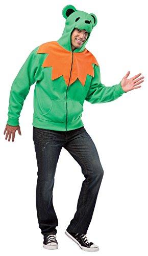 Grateful Dead Orange Bear Adult Costumes - Rasta Imposta Grateful Green Bear Hoodie, Green/Orange/Black, Small/Medium