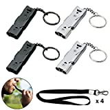 4Pcs Emergency Whistles Survival Loud - Stainless Steel Whistle with Lanyard and Keyring - Double Tubes High Decibel Whistles Necklace for School Gym Camping Hiking Training(8Pcs in Total))