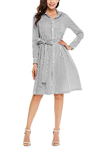 Fanala Women Striped Cotton Belted Casual Pleated Shirt Dress with Belt L, (Button Down Cotton Skirt)