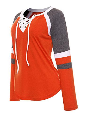Famulily Women s Lace Up Front Long Sleeve Tops Striped Crew Neck Raglan  Baseball Tee Shirt( 0fc8f0862