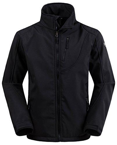 Waterproof Windproof Softshell Fleece Jacket(Black, US L) ()