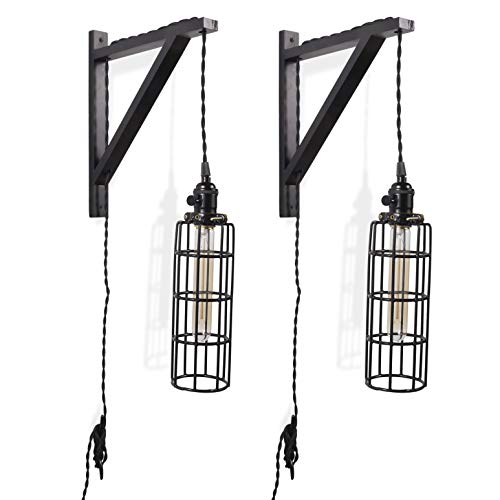 - Rustic State 2 Vintage Farmhouse Design Wall Lamp Sconce Set with Wood Wall Bracket Cylinder Cage and Tube LED Energy Saver Edison Light Bulb