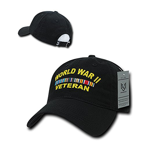 Wwii Hat Patch - Rapid Dominance World WAR II Veteran Embroidered Low Profile Soft Cotton Baseball Cap - Black