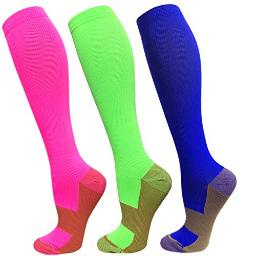 Copper Compression Socks For Men & Women-3 Pairs,15-30mmHg is Best For Running,Athletic,Medical,Pregnancy and Travel