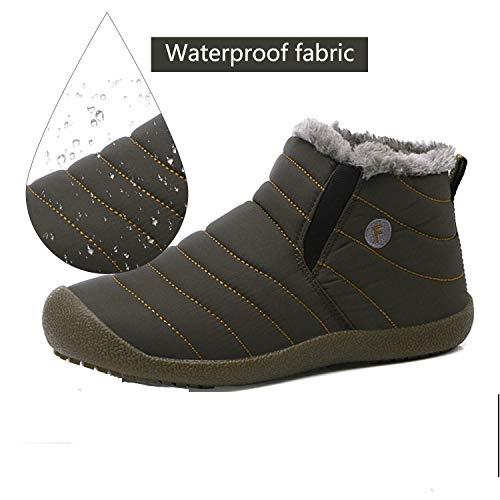 Women Slippers Men House Waterproof Slip JACKSHIBO Ankle Grey Anti Slipper high Boots Lined Fully Fur Slipper Outdoor zdfww7q5