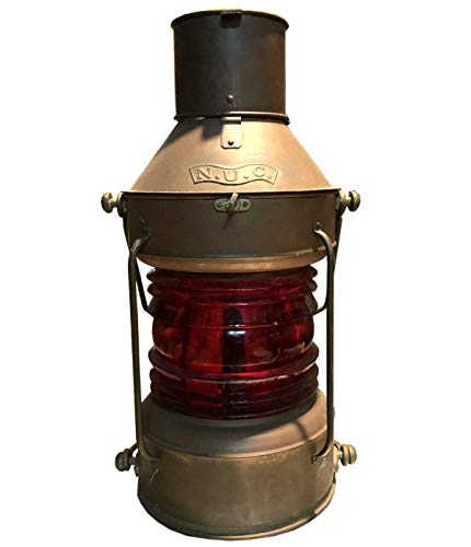 Global Art World Vintage Nautical Antique Heavy Brass Lamps, Ship Or Boat Signal Lanterns, Red Lights Copper Hanging N.U.C. Marine Lamp ML 077 ()