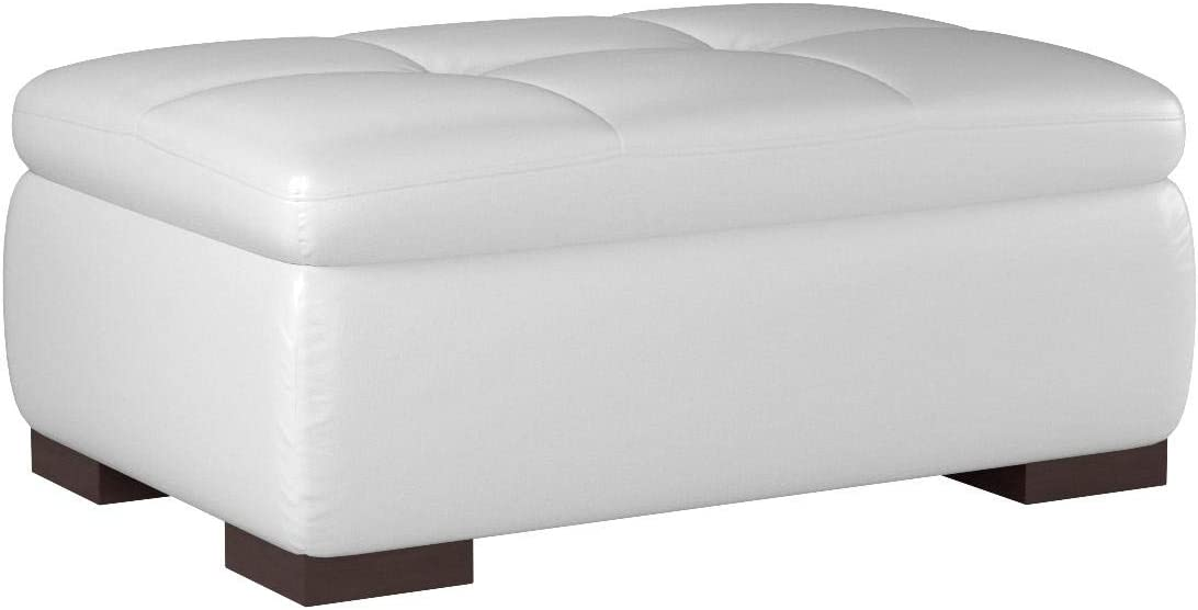 J and M Furniture 625 Italian Leather Ottoman in White