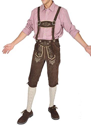 Herren Trachten Lederhose aus 100% Rindvelour dunkelbraun (52) - trachtenlederhose herren - trachten herren - lederhosen - lederhosen - herren trachten kniebund dunkelbraun