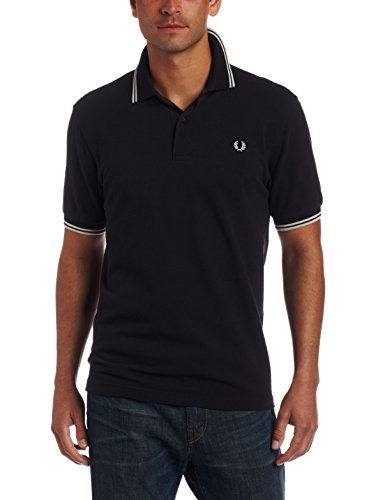 Fred Perry Men's Twin Tipped Polo Shirt-M1200, BLACK/PORC/