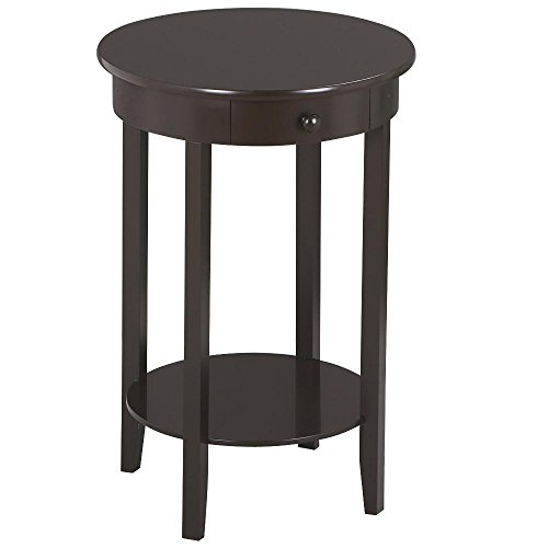 Yaheetech Round Sofa Side End Tables Coffee Table/Nightstand with Drawer and Storage Shelf for Living Room Bedroom Small Space ()