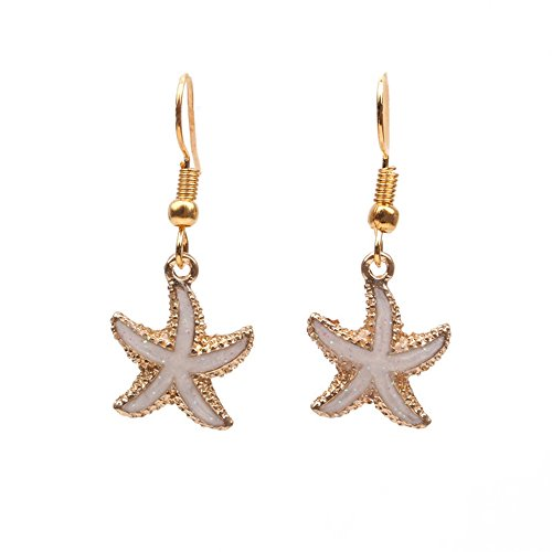 (palettei Starfish Earrings - Simple Colorful Enamel Starfish Shinny Rhinestone Clip Earrings (White))