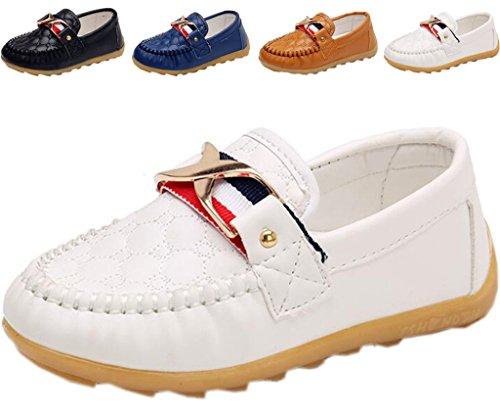 DADAWEN Boy's Girl's Slip-On School Uniform Dress Shoe (Toddler/Little Kid) White US Size 6.5 M Toddler by DADAWEN