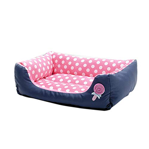 LINDA-Grocery-Store Pet Dog Cat Bed Puppy Cushion House Soft Warm Kennel Dog Mat Blanket Sofa Puppy Pads,Pink,S