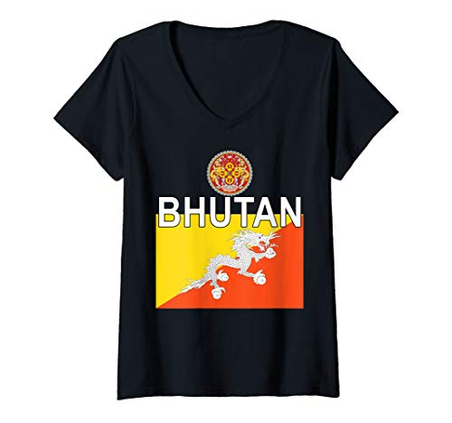 Womens National Emblem and Flag of Bhutan V-Neck T-Shirt