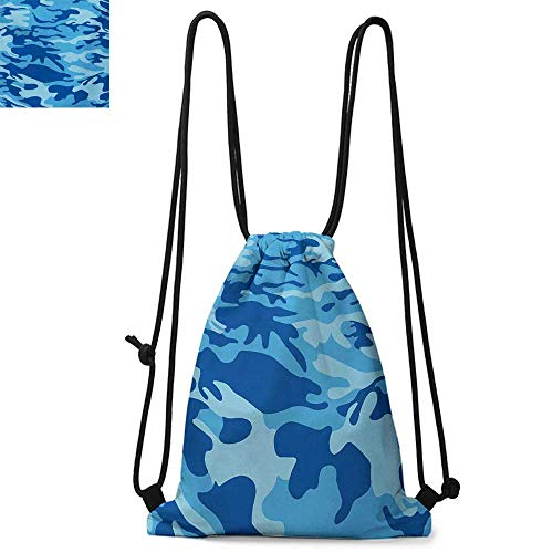 CamouflageDurable Drawstring BackpackAbstract Camouflage Costume Concealment from the Enemy Hiding PatternSuitable for carrying around W13.4 x L8.3 Inch Pale Blue Navy Blue -