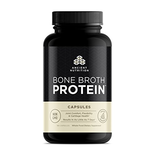 Ancient Nutrition Bone Broth Protein, Capsules 180 Count - All Natural On-the-Go Protein Capsules by Ancient Nutrition - Joint Comfort, Flexibility and Cartilage Health